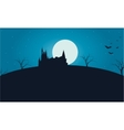 Castle and full moon Halloween vector image