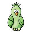 cute cartoon green bird vector image vector image