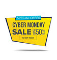 cyber monday sale banner shopping vector image vector image