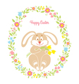 Easter bunny card with flowers vector image vector image