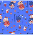 elk walk valentines day seamless pattern vector image vector image
