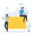 email message concept man with a laptop sits on a vector image vector image