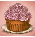 engraving cake retro vector image