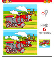 find differences game with locomotives vector image