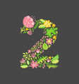 floral summer number 2 two flower capital wedding vector image