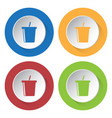 four round color icons cold drink with straw vector image vector image