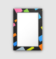 frame pattern with abstract color squares on black vector image vector image