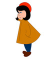 girl in yellow cape on white background vector image