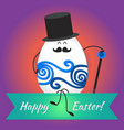 happy easter with happy eggs vector image