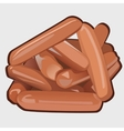 Heap of delicious sausages icon food vector image