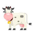 isolated cute white cow black spots milk meat farm vector image