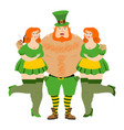 kiss me im irish leprechaun and beautiful girls vector image vector image