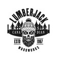 lumberman skull with two hand saw emblem vector image vector image