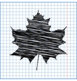Maple leaf with pen effect on paper vector image