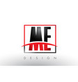me m e logo letters with red and black colors and vector image