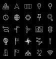 Navigation line icons on black background vector image vector image