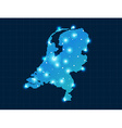 pixel Netherlands map with spot lights vector image vector image