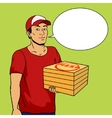 Pizza delivery guy pop art vector image vector image