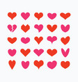 red and pink cute isolated hearts icons set vector image vector image