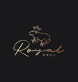 royal gold frog on black logo background vector image vector image