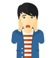 Scared man with open mouth vector image