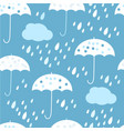 seamless pattern with clouds umbrella and vector image