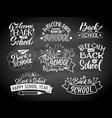 set monochrome school labels emblem vector image vector image