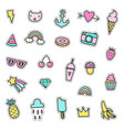set of cute pins stickers objects vector image vector image
