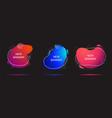 set three vivid liquid color geometric shapes vector image