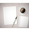 sheet of paper and a cup of coffee on a wooden vector image vector image