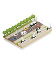 smart city traffic isometric composition vector image vector image