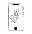 smartphone device with gears vector image