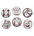 Smiling baseball balls cartoon characters vector image vector image