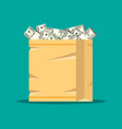 stack of dollar banknotes in paper shopping bag vector image