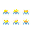 sunrise and sea cartoon logo temlates collection vector image vector image