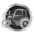 tractor in the circle silhouette vector image