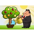 Watering the fruit tree 3 vector image vector image