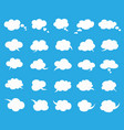 white clouds speak bubbles set on blue background vector image vector image