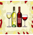 wine set sketch hand drawn alcoholic vector image