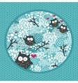 Winter pattern with owls and snow vector image vector image