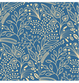 Yellow floral seamless pattern on blue background vector image vector image