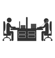 Flat office icon with workers isolated on white vector image