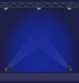 empty stage with blue lightening vector image