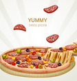Yummy tasty pizza with sausage banner vector image