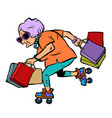 active sports old lady with shopping vector image vector image