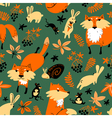 autumn seamless pattern with animals and florals vector image