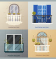 balcony design compositions set vector image vector image