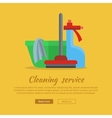 Banner with Basin Duster Broom Glass Cleaner vector image vector image