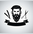 barbershop logo template with hipster head vector image