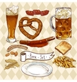 Beer Set with beer glasses pretzel sausages vector image